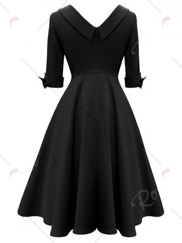 Unique Mid Calf Bowknot Vintage Dress - S BLACK Mobile