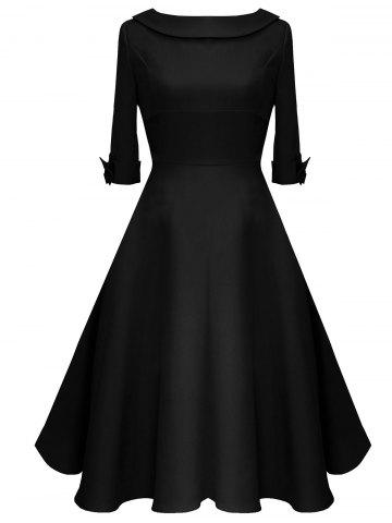 Shop Mid Calf Bowknot Vintage Dress - S BLACK Mobile