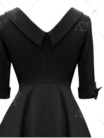 Chic Mid Calf Bowknot Vintage Dress - S BLACK Mobile