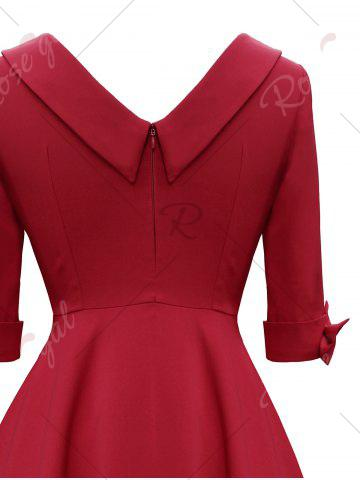 New Mid Calf Bowknot Vintage Dress - 2XL RED Mobile