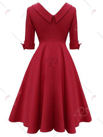 Discount Mid Calf Bowknot Vintage Dress - 2XL RED Mobile