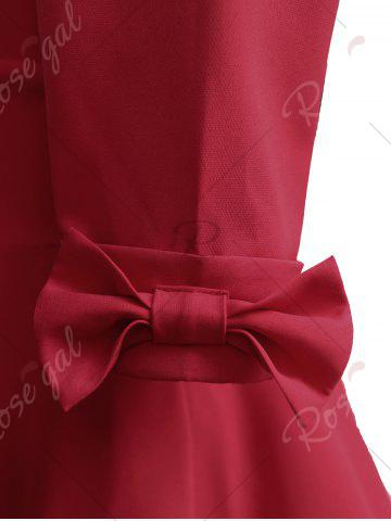 Outfits Mid Calf Bowknot Vintage Dress - 2XL RED Mobile