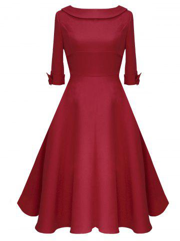 Online Mid Calf Bowknot Vintage Dress - 2XL RED Mobile