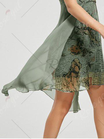 Fancy Mandarin Collar Floral High Low Chinese Dress - M GREEN Mobile