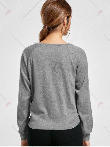 Shops Marled Tied Sweatshirt - S GRAY Mobile