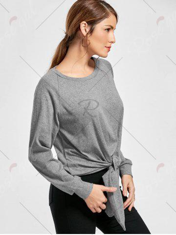 Fashion Marled Tied Sweatshirt - S GRAY Mobile