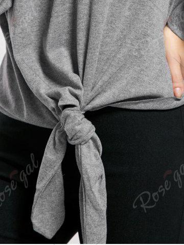 Sale Marled Tied Sweatshirt - S GRAY Mobile