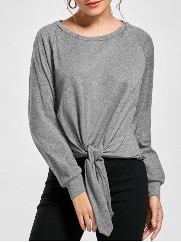 Affordable Marled Tied Sweatshirt - S GRAY Mobile