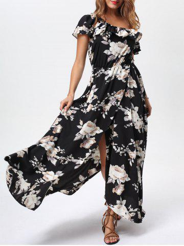 Unique Floral Flounce Slit Maxi Dress with Short Sleeves - S BLACK Mobile