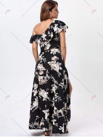 Online Floral Flounce Slit Maxi Dress with Short Sleeves - S BLACK Mobile