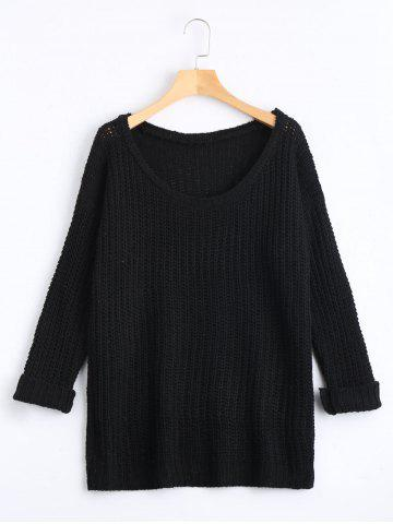 Casual Chunky Knit Sweater - Black - One Size(fit Size Xs To M)