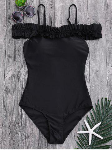 Cheap One Piece Off Shoulder Ruffled Swimsuit - XL BLACK Mobile
