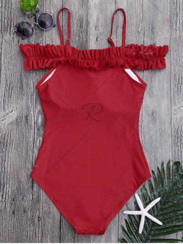 Outfits One Piece Off Shoulder Ruffled Swimsuit - S RED Mobile