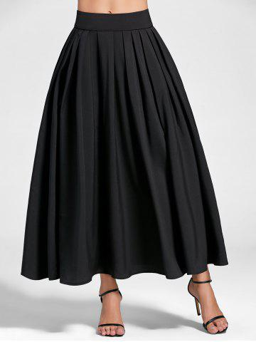 Pleated High Waist Maxi A Line Skirt - Black - 2xl