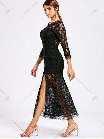 Best Lace High Split See Thru Party Dress - M BLACK Mobile