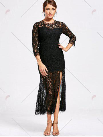 Outfits Lace High Split See Thru Party Dress - M BLACK Mobile