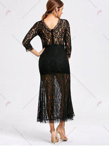 Online Lace High Split See Thru Party Dress - XL BLACK Mobile
