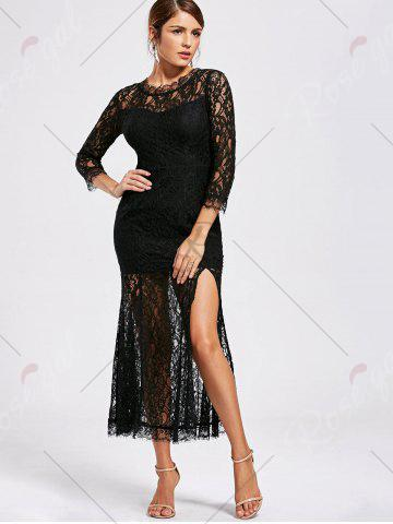 Cheap Lace High Split See Thru Party Dress - XL BLACK Mobile