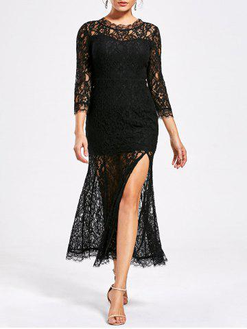 Lace High Split See Thru Party Dress - Black - Xl