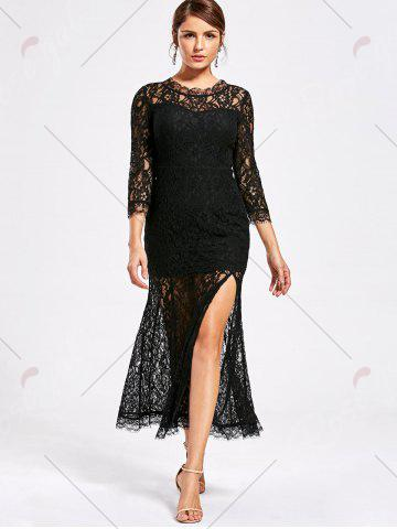 Fancy Lace High Split See Thru Party Dress - XL BLACK Mobile