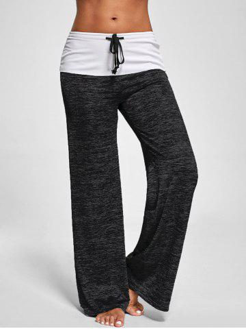 Sale Foldover Heather Palazzo Pants - M BLACK GREY Mobile