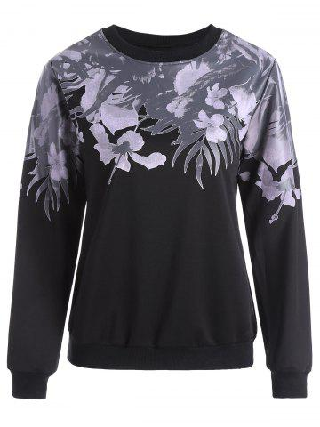 Online Floral Long Sleeves Sweatshirt BLACK 2XL