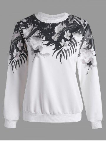 Store Floral Long Sleeves Sweatshirt - S WHITE Mobile