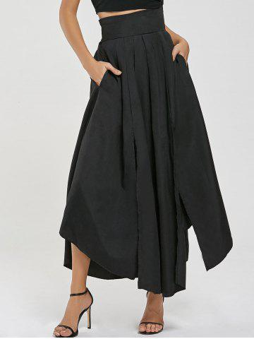 High Waisted Slit Maxi Skirt - Black - S