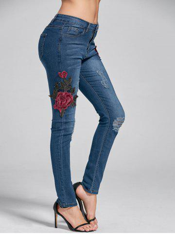 Fancy Ripped Embroidery Skinny Jeans DENIM BLUE M