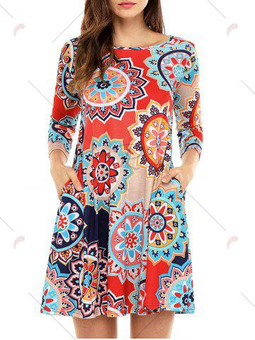 Discount Ethnic Flare Floral Print Dress - S RED Mobile