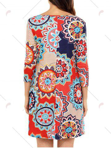 New Ethnic Flare Floral Print Dress - S RED Mobile