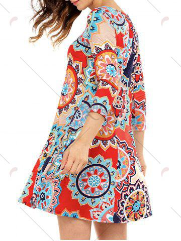 Outfits Ethnic Flare Floral Print Dress - S RED Mobile