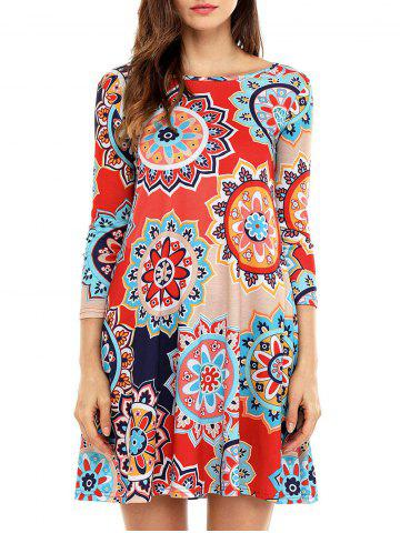 Chic Ethnic Flare Floral Print Dress - S RED Mobile