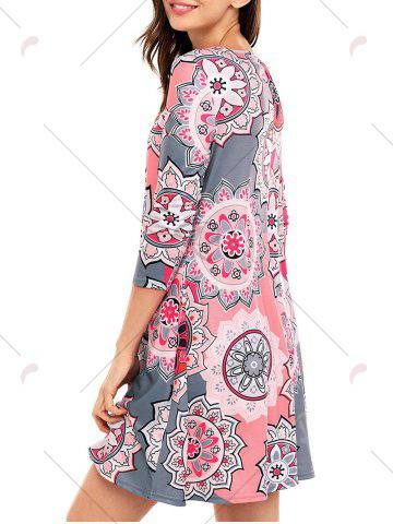 Affordable Ethnic Flare Floral Print Dress - S GRAY Mobile