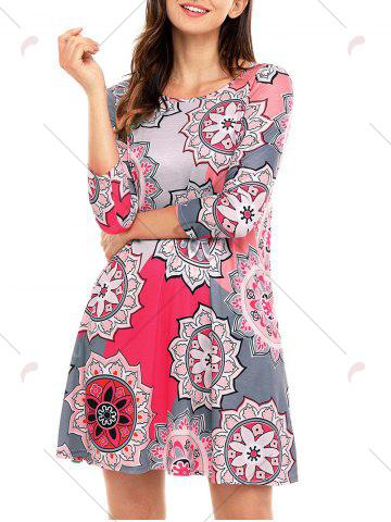 Chic Ethnic Flare Floral Print Dress - S GRAY Mobile