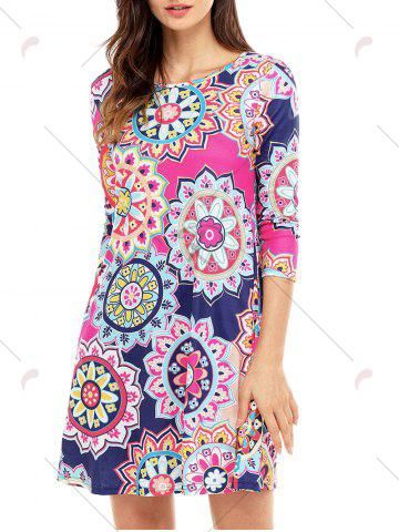 Trendy Ethnic Flare Floral Print Dress - S ROSE RED Mobile