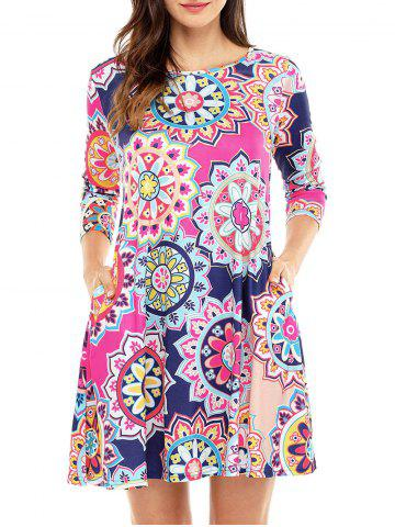 Outfits Ethnic Flare Floral Print Dress - S ROSE RED Mobile
