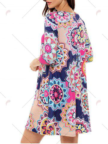 Cheap Ethnic Flare Floral Print Dress - S ROSE RED Mobile