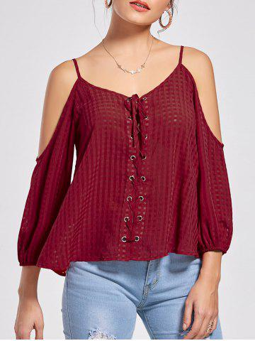 New Cold Shoulder Lace Up Top - M WINE RED Mobile