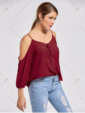 Discount Cold Shoulder Lace Up Top - XL WINE RED Mobile