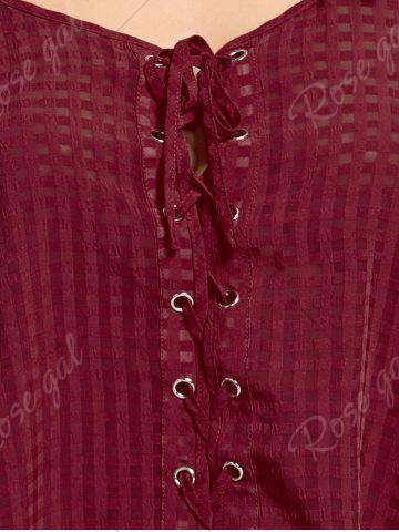 Store Cold Shoulder Lace Up Top - 2XL WINE RED Mobile
