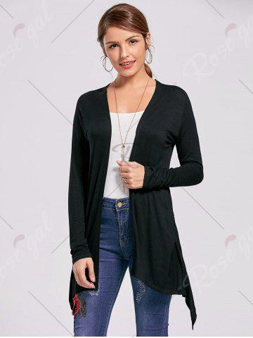 Online Printed High Low Open Front Cardigan - L BLACK Mobile