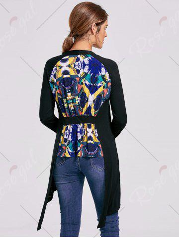 New Printed High Low Open Front Cardigan - L BLACK Mobile