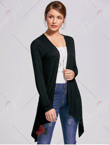 Latest Printed High Low Open Front Cardigan - L BLACK Mobile