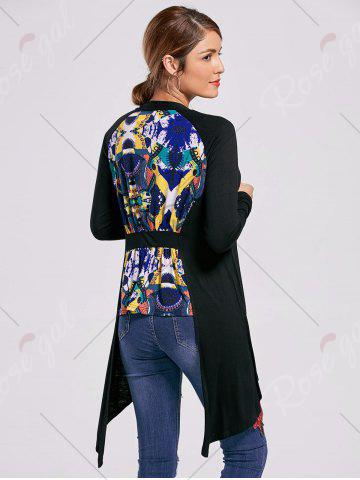 Affordable Printed High Low Open Front Cardigan - L BLACK Mobile