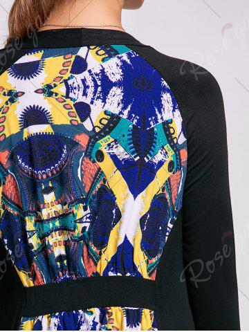 Store Printed High Low Open Front Cardigan - L BLACK Mobile