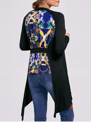 Online Printed High Low Open Front Cardigan - XL BLACK Mobile