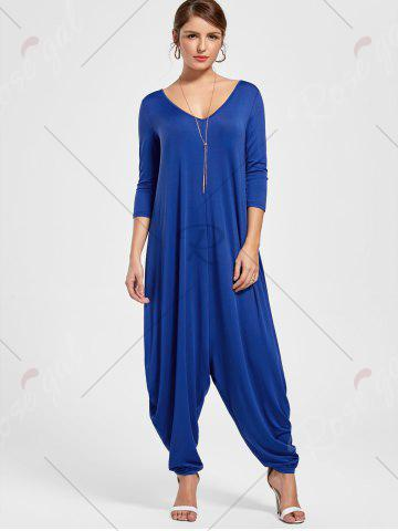Outfits Draped V Neck Cut Out Harem Jumpsuit - M BLUE Mobile