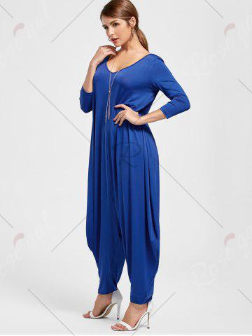 Buy Draped V Neck Cut Out Harem Jumpsuit - M BLUE Mobile