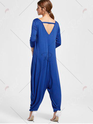 Store Draped V Neck Cut Out Harem Jumpsuit - M BLUE Mobile
